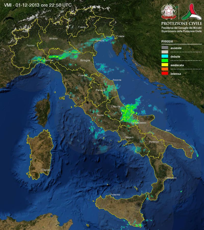 Immagine RADAR Italia - 02.12.13 ore 00:00 circa