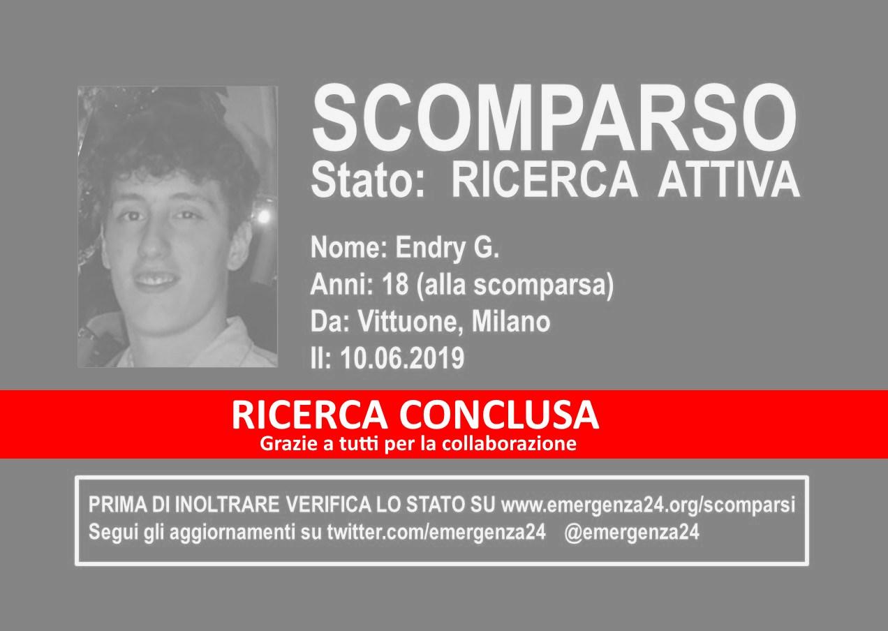 3ea9b1b4a6 Stato: RICERCA CONCLUSA Nome: Endry G. Anni: 18 (alla scomparsa) Scomparso  da: Vittuone, Milano Scomparso il: 10.06.2019. Ritrovato il: 11.06.2019